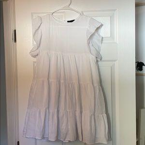 White linen baby doll dress